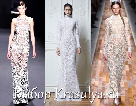 Кружевное белое платье фото