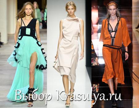 А также юбки или платья, украшенные плиссировкой и складками, Короткие мини платья и юбки, которые комбинируют с шортами. Модными будут сарафаны, состоящие