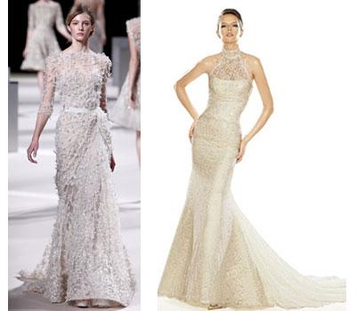 И все же, для тех, у кого торжество запланировано на летний период времени не стоит приобретать свадебные платья с плотным кружевом
