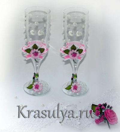 Как украсить свадебные бокалы (фото